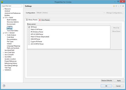 Configuración del analizador de proyecto C/C++