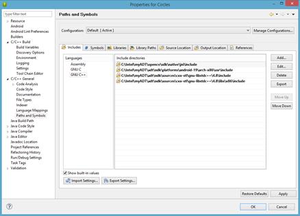 Incluye la configuración para STL, OpenCV* y NDK