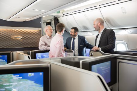 LONDON, UK: Alex Crux (Chairman and CEO) during a special flight on a 787-9 to announce new Club World products, the opening of First Wing, London Gatwick and Boston Lounges with media and social media influencers between London Gatwick and Heathrow on 05 April 2017 (Picture by Nick Morrish/British Airways)